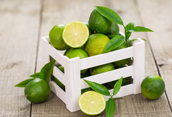 Fresh limes in the crate