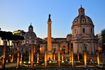 Rome, Italy, evening view of Trajan's Column and twin churches