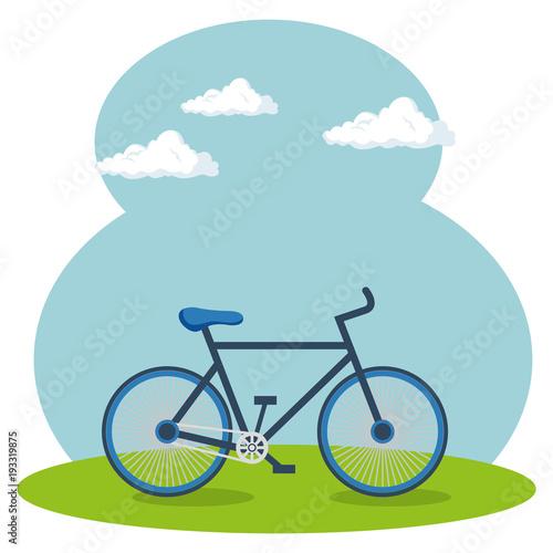 Fotobehang Pool bicycle sport wellness lifestyle vector illustration design