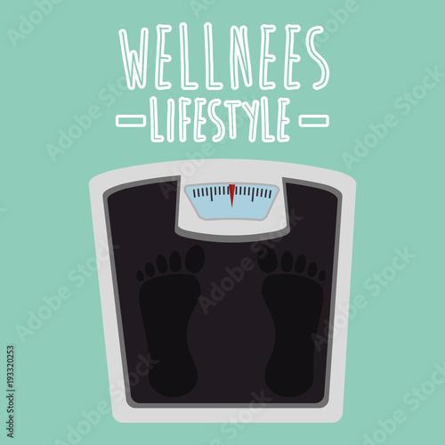 Aluminium Fitness scale balance wellness lifestyle vector illustration design
