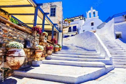 Plexiglas Freesurf Traditional Greece - charming floral streets with tavernas, Naxos island, Cyclades