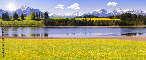 Panorama Landschaft in Bayern im Allgäu mit Forggensee und Berge - 193325284