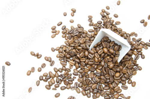Tuinposter Koffiebonen Coffee beans with white small dish on white background, Isolated.