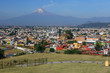 San Pedro Cholula and Popocatepetl volcano seen from Shrine of Our Lady of Remedies, Mexico