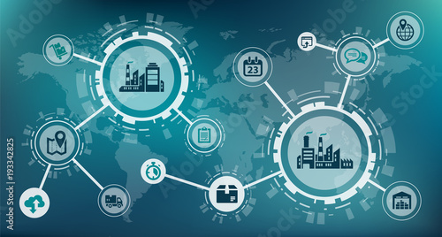 Industry 4.0 / smart factory / digitalization concept: process automation and data exchange between manufacturing companies