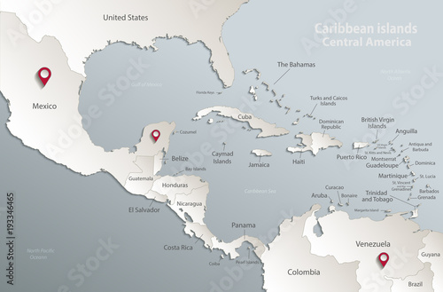 Map Of America 3d Vector.Caribbean Islands Central America Map State Names Separate States