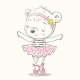 Cute baby bear ballerina dancing cartoon hand drawn vector illustration. Can be used for baby t-shirt print, fashion print design, kids wear, baby shower celebration, greeting and invitation card. - 193358043