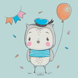 Cute owlet with a balloon cartoon hand drawn vector illustration. Can be used for baby t-shirt print, fashion print design, kids wear, baby shower celebration greeting and invitation card.