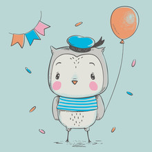 Cute Owlet  A Balloon Cartoon Hand Drawn  Illustration Can Be Used For Baby Tshirt Print Fashion Print Design Kids Wear Baby Shower Celebration Greeting And Invitation Card Sticker
