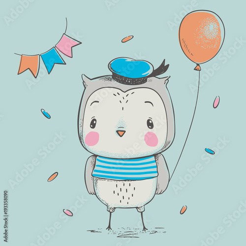 Fotobehang Uilen cartoon Cute owlet with a balloon cartoon hand drawn vector illustration. Can be used for baby t-shirt print, fashion print design, kids wear, baby shower celebration greeting and invitation card.
