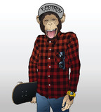 Monkey Skater Hipster Illustration