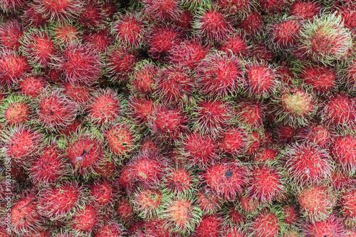 In de dag Kuala Lumpur Close up of Rambutan fruit (Nephelium lappaceum) in Kuala Lumpur, Malaysia.