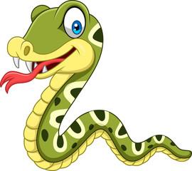 Cartoon happy snake isolated on white background