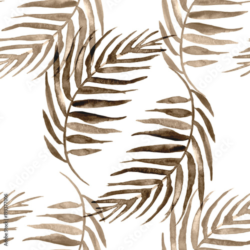 Watercolor seamless background, monochrome. Watercolor Palm leaf background. sepia, brown leaves, silhouette, floral pattern on a white background. tropical palm leaf.  - 193377006