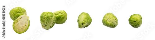Fotobehang Verse groenten Green Brussel Sprouts Isolated