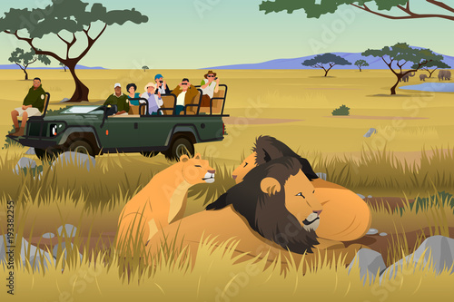 Tourist on African Safari Trip Illustration