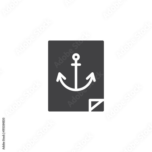 Navy Anchor Sticker Vector Icon Filled Flat Sign For Mobile Concept