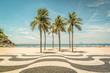 Quadro Palms on Copacabana Beach and landmark mosaic in Rio de Janeiro, Brazil