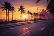 Quadro Sunset on Ipanema Beach with Dois Irmaos mountains in Rio de Janeiro, Brazil. Violet tone