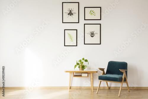 Bright flat interior with artwork