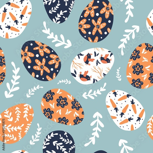 Materiał do szycia Seamless pattern with easter eggs