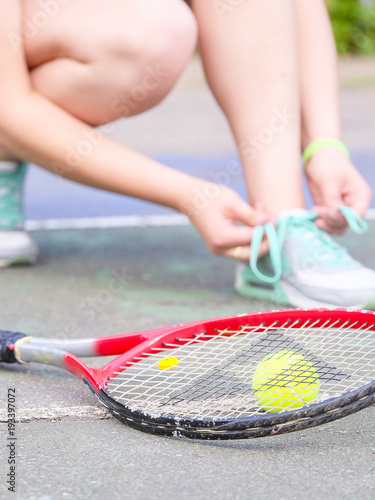Fotobehang Tennis Girl tennis player close up