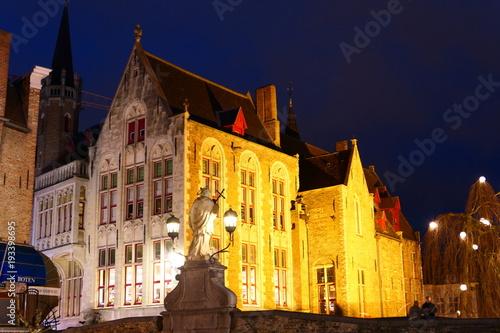 Deurstickers Brugge Statue of Saint Joannes Nepomucenus
