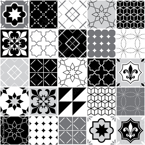 portugalski-plytki-azulejos-bez-szwu-wektor-wzor-plytki-geometryczny-i-kwiatowy-wzor-czarny-bialy-i-szary-patchwork