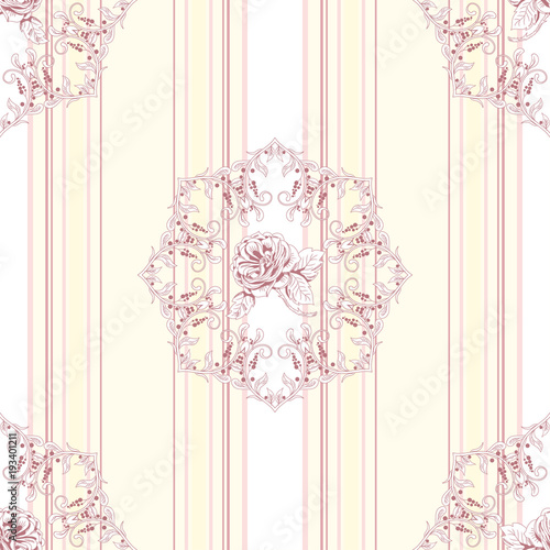 Deurstickers Retro Vector seamless striped background. Beautiful round patterns. Victorian garden roses. Hand drawing. Vintage style.