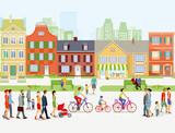 Stadtansicht mit Spaziergänger und Radfahrer - 193403471