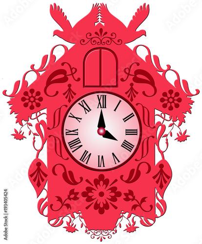 Illustration of a cuckoo clock - 193405424