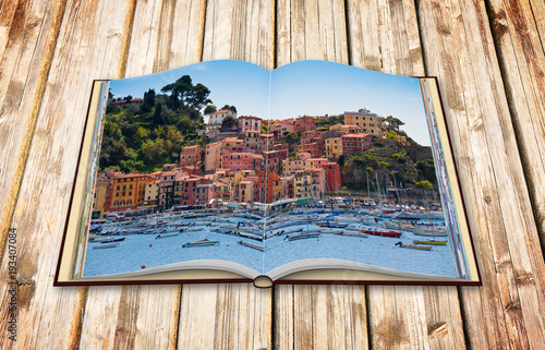Foto op Aluminium Liguria Beautiful old Lerici town in Liguria region (Italy) - 3D render concept image of an opened photo book isolated on white - I'm the copyright owner of the images used in this 3D render