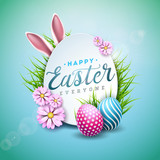 Vector Illustration of Happy Easter Holiday with Painted Egg, Rabbit Ears and Flower on Shiny Blue Background. International Celebration Design with Typography for Greeting Card, Party Invitation or