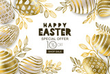 Happy Easter sale banner. Vector holiday frame. Golden 3d eggs with hand painted decoration and gold leves, isolated on white background. Design for holiday flyer, poster, party invitation.