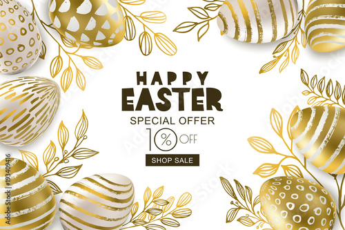 Happy Easter sale banner. Vector holiday frame. Golden 3d eggs with hand painted decoration and gold leves, isolated on white background. Design for holiday flyer, poster, party invitation. © Betelgejze