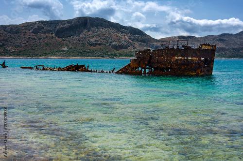 Keuken foto achterwand Schipbreuk Wrak statku, wyspa Gramvousa, Kreta, Grecja