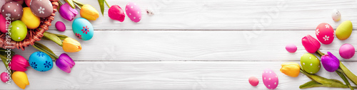 Easter Eggs with Flowers on White Wooden Background - 193411294