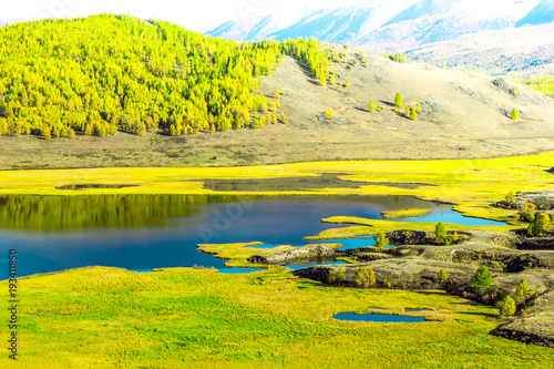 Aluminium Geel View of the Sunny mountain valley with lakes and rivers. Journey through the Altai Republic.