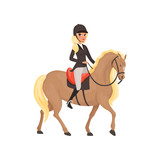 Jockey girl riding horse, equestrian professional sport vector Illustration