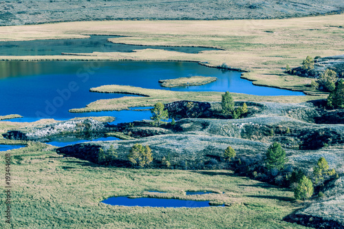 Aluminium Beige View of the mountain valley with rivers and lakes. Autumn season.