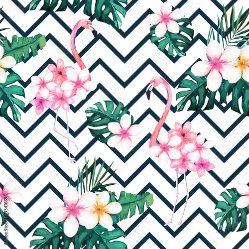 Sticker Exotic summer print. Seamless pattern with tropical leaves , flowers and flamingo. Hawaii, Miami style.Vector illustration