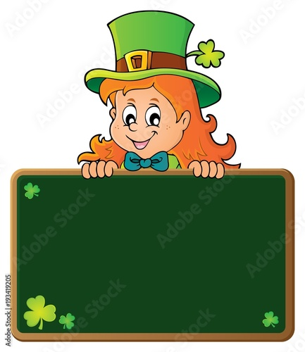 Foto op Canvas Voor kinderen Leprechaun girl holding greenboard 1