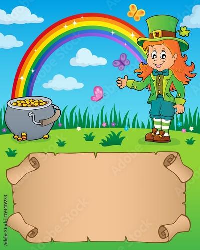 Foto op Canvas Voor kinderen Small parchment with leprechaun girl