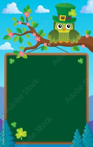 Foto op Canvas Voor kinderen St Patricks Day theme board with owl