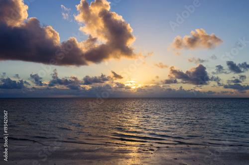 Staande foto Zanzibar Gorgeous sunrise over the ocean. Dawn over the Indian Ocean.