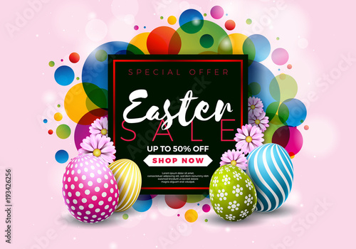 Easter Sale Illustration with Color Painted Egg and Typography Element on Abstract Background. Vector Holiday Design Template for Coupon, Banner, Voucher or Promotional Poster.. - 193426256