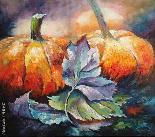 Original oil painting on canvas - Pumpkins - Impressionism - Modern art © shvets_tetiana