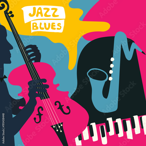 Jazz music festival poster with music instruments. Saxophone, piano and violoncello flat vector illustration. Jazz concert poster with cello player © abstract