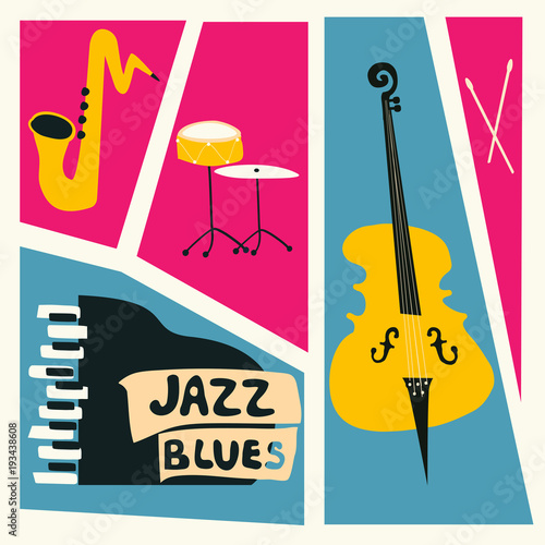 Jazz music festival poster with music instruments. Saxophone, piano, violoncello and cymbals flat vector illustration. Jazz concert