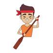 Chinese man with paddle, dragon boat festival icon vector illustration graphic design